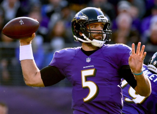 Baltimore Ravens quarterback Joe Flacco drops back to pass during a game against the Detroit Lions on December 3. Photo by Kevin Dietsch/UPI