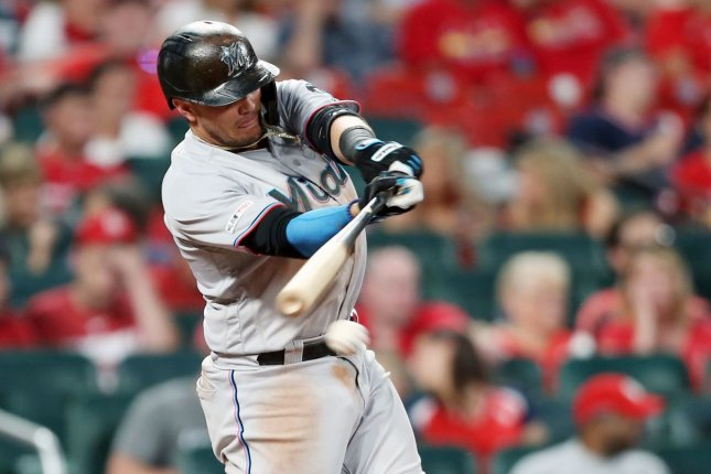 Veteran infielder Miguel Rojas is among more than a dozen Miami Marlins players who have tested positive for the coronavirus as the team remains in Philadelphia amid the outbreak. File Photo by Bill Greenblatt/UPI