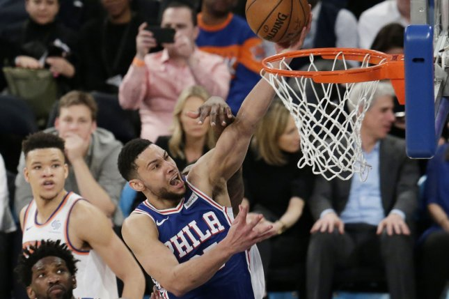 Philadelphia 76ers guard Ben Simmons (pictured) has surfaced as a potential trade piece as the Houston Rockets look to find a destination for James Harden. File Photo by John Angelillo/UPI