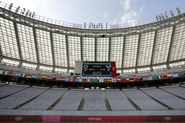 The stands at Tokyo Stadium are seen on Thursday before a Men's Group A football match between France and Mexico, at the Summer Olympic Games in Tokyo, Japan. Photo by Bob Strong/UPI