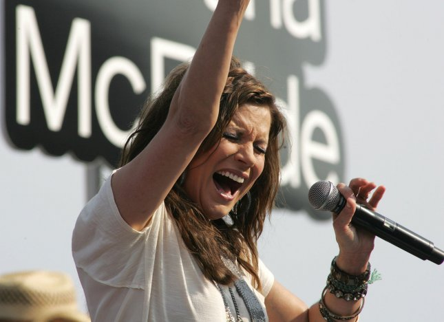Martina McBride performs prior to the NASCAR Sprint Cup Coke Zero 400 at Daytona International Speedway in Daytona Beach, Florida on July 2, 2011. UPI Photo/Sam Bush