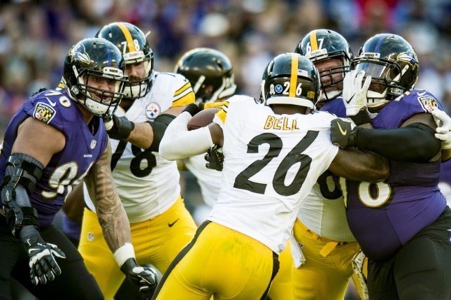 The Baltimore Ravens' defense stops Pittsburgh Steelers LeVeon Bell at the line of scrimmage in the third quarter at M&T Bank Stadium in Baltimore, Maryland on November 6, 2016. Baltimore won the game 21-14. Photo by Pete Marovich/UPI