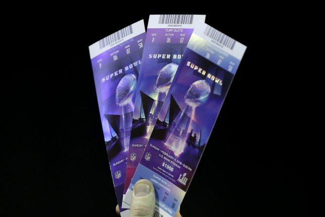 Authentic Super Bowl LII tickets are displayed at the NFL and Law Enforcement Super Bowl Anti-Counterfeiting press conference Thursday at The Mall of America which is serving as media headquarters for Super Bowl LII in Bloomington, Minn. Photo by John Angelillo/UPI