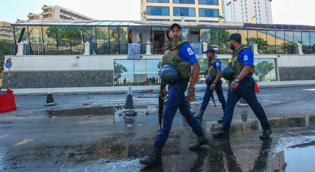 Soldiers patrol an area near luxury hotels in Colombo on April 23, 2019. More than 300 people were killed in suicide bomb blasts on churches and hotels that were the South Asian island nation's deadliest violence in a decade while Sri Lanka police arrested 40 suspects in the wake of a state of emergency. Photo by Perera Sameera/UPI