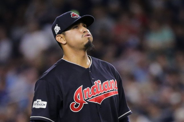 Cleveland Indians pitcher Carlos Carrasco was diagnosed with a treatable form of leukemia in June. File Photo by Ray Stubblebine/UPI