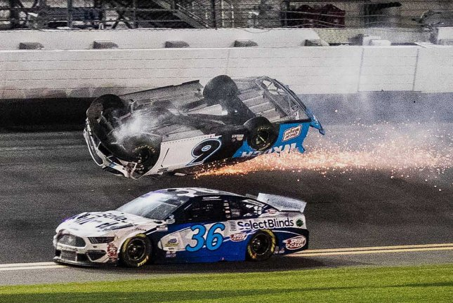 Ryan Newman (6) suffered a head injury after a fiery crash in NASCAR's season-opening race on Feb. 17 at Daytona International Speedway. File Photo by Edwin Locke/UPI