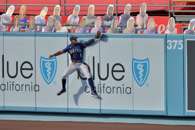Seattle Mariners outfielder Kyle Lewis, shown Aug. 18, 2020, appeared to suffer the injury during Monday's game against the Oakland Athletics. File Photo by Jim Ruymen/UPI