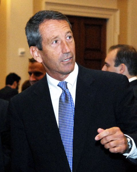 Disgraced ex-Gov. Mark Sanford pulled to a dead heat with Democrat Elizabeth Colbert Busch in South Carolina's special congressional election, a poll indicated. 2009 file photo. (UPI Photo/Alexis C. Glenn/File)