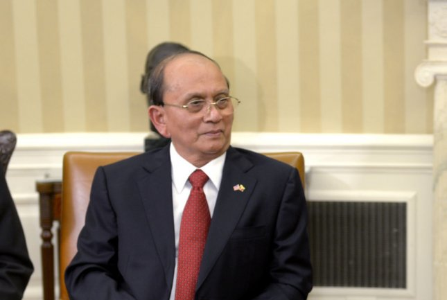 Myanmar President Thein Sein, pictured in May 2013, has received expressions of concern and offers of assistance from both the United Nations and United States following credible information that at least forty Rohingya Mulsims were massacred in northern Rakhine state. (UPI/Shawn) Thew/Pool