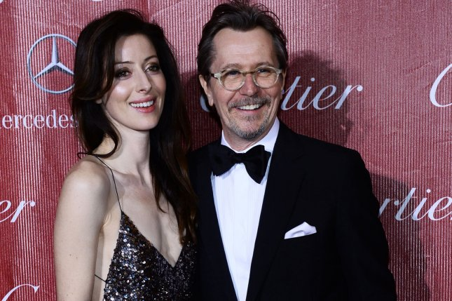 Alexandra Edenborough, left, filed for divorce from actor Gary Oldman, right, on Friday. File photo by Jim Ruymen/UPI.