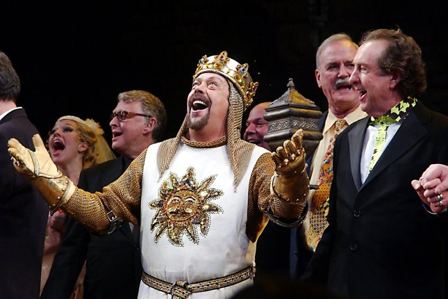 Nearly all patients in a study on comedy preferences in dementia patients were not fans of satirical or aburdist comedy such as Monty Python, the cast of which is seen above in a 2005 curtain call for the Broadway musical Spamalot. UPI Photo/Ezio Petersen