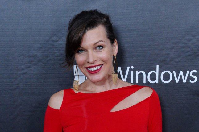 Milla Jovovich at the amfAR Inspiration Gala on October 29, 2014. The actress shared a photo of 'Old Alice' on the 'Resident Evil: The Final Chapter' set Wednesday. File Photo by Jim Ruymen/UPI