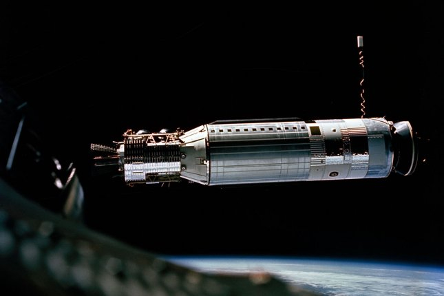Closer view of the Agena Target Docking vehicle seen from the Gemini 8 spacecraft during rendezvous in space on March 16-17, 1966. Crewmen for the Gemini 8 mission were astronauts Neil Armstrong, command pilot, and David Scott, pilot. March 16, 2016 marks the 50th anniversary of NASA's Gemini 8 mission, the sixth manned spaceflight conducted during the United States' Project Gemini program. The primary objective of the mission, the successful docking of two spacecraft in orbit, a first in spaceflight, was a success though the crew would experience a critical in-space system failure, forcing them to abandon the mission prematurely. UPI