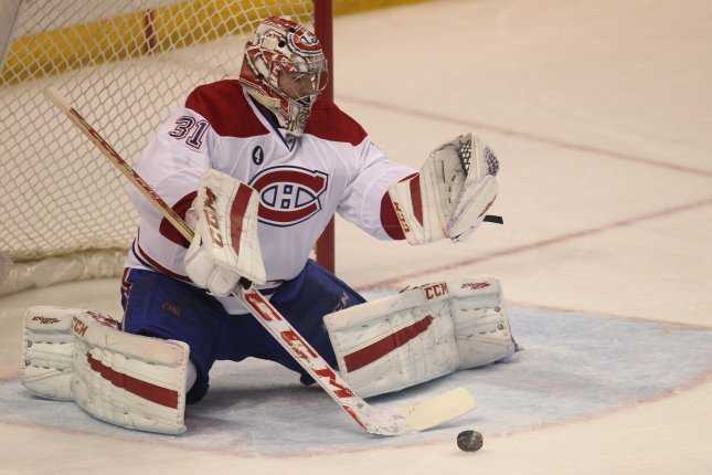 Montreal Canadiens goaltender Carey Price sets up to make a save. File photo by Bill Greenblatt/UPI
