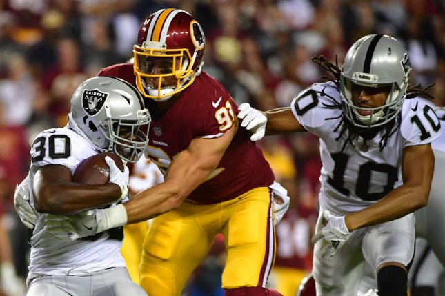 Oakland Raiders running back Jalen Richard is primed for a larger role following the injury of Marshawn Lynch. File photo by Kevin Dietsch/UPI