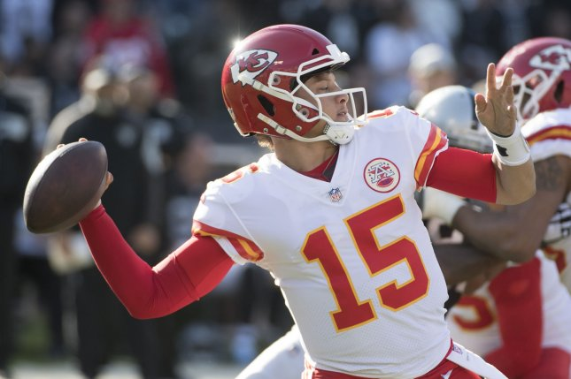 Patrick Mahomes and the Kansas City Chiefs take on the Baltimore Ravens on Sunday. Photo by Terry Schmitt/UPI