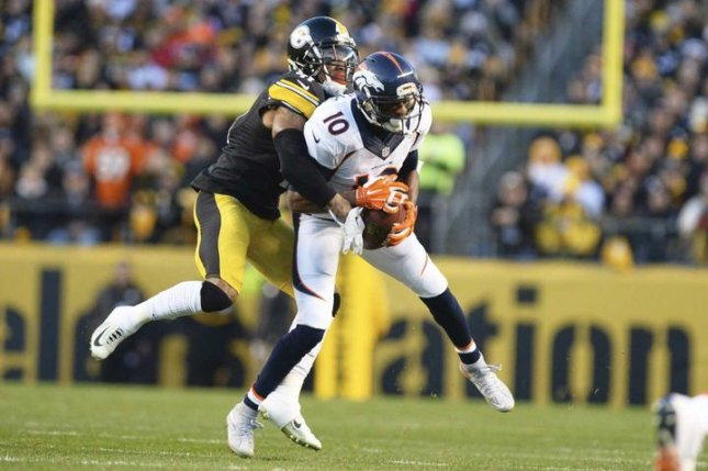 Denver Broncos wide receiver Emmanuel Sanders (10) is unwilling to restructure his current contract based on a tweet he sent out Tuesday. File Photo by Shelley Lipton/UPI