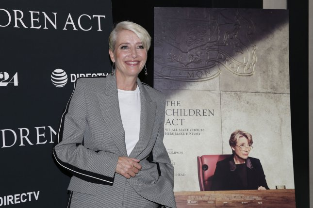 Emma Thompson arrives on the red carpet at the The Children Act New York premiere at Walter Reade Theater on September 11 in New York City. The actor turns 60 on April 15. File Photo by John Angelillo/UPI