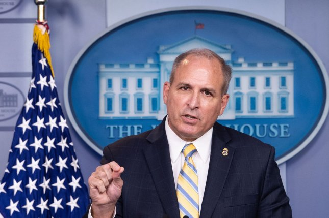 Acting Commissioner of Customs and Border Protection Mark Morgan speaks to the media at the White House in Washington, D.C., on Monday about August illegal immigration arrests. Photo by Kevin Dietsch/UPI