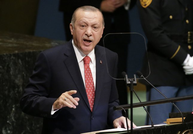 Turkish President Recep Tayyip Erdogan warned Saturday of upcoming Turkish military operation in northeast Syria. File Photo by John Angelillo/UPI
