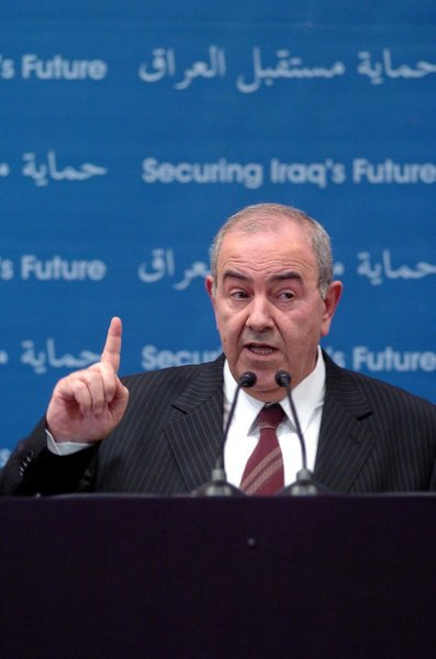 The Iraqi Prime Minister, Iyad Allawi, announces that his country will fight against terrorism and will improve the security in the entire region, after a several bombs attacks, on June 20, 2004 in Baghdad, Iraq...(UPI Photo/Hugo Infante)