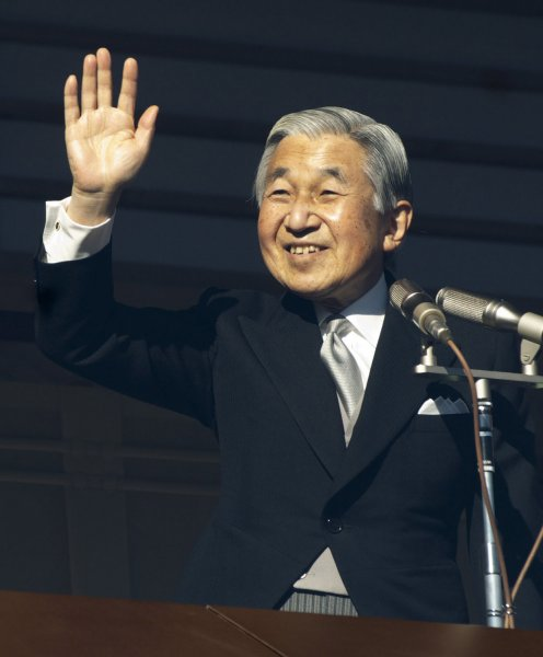Japan's Emperor Akihito waves to well-wishers during a new year greeting at the East Plaza, Imperial Palace in Tokyo, Japan, on January 2, 2010. UPI/Keizo Mori
