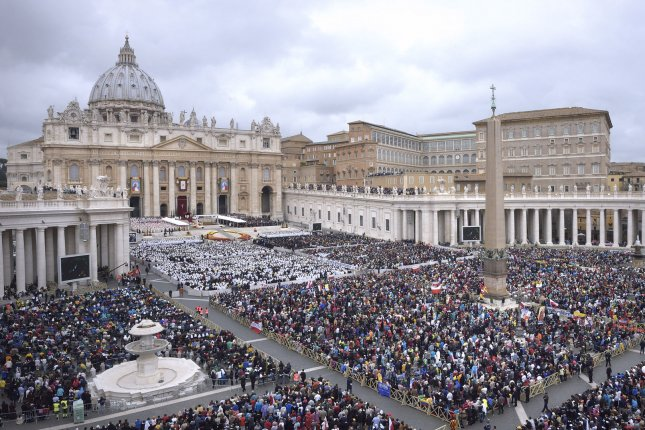 In an canonization mass, Pope Francis honors Pope John XXIII and Pope John Paul II by declaring them saints in St. Peter's Square at the Vatican in Vatican City on April 27, 2014. About 800,000 people filled the square for the ceremony. UPI/Stefano Spaziani