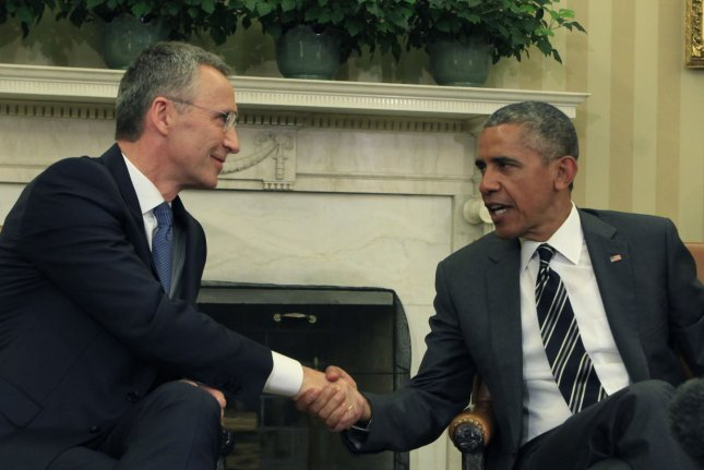 NATO Secretary General Jens Stoltenberg, seen here meeting with U.S. President Barack Obama in the White House in 2015, on Wednesday said NATO would increase its military presence in Eastern Europe to levels rivaling the Cold War to counter Russian aggression. File Photo by Dennis Brack/UPI