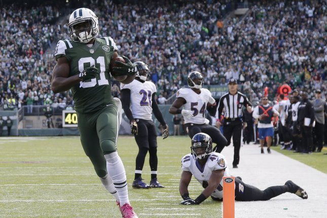 New York Jets wide receiver Quincy Enunwa (81) runs across the goal line on a 69-yard touchdown reception in the second quarter against the Baltimore Ravens in Week 7 of the NFL season on October 23, 2016 at MetLife Stadium in East Rutherford, New Jersey. File photo by John Angelillo/UPI