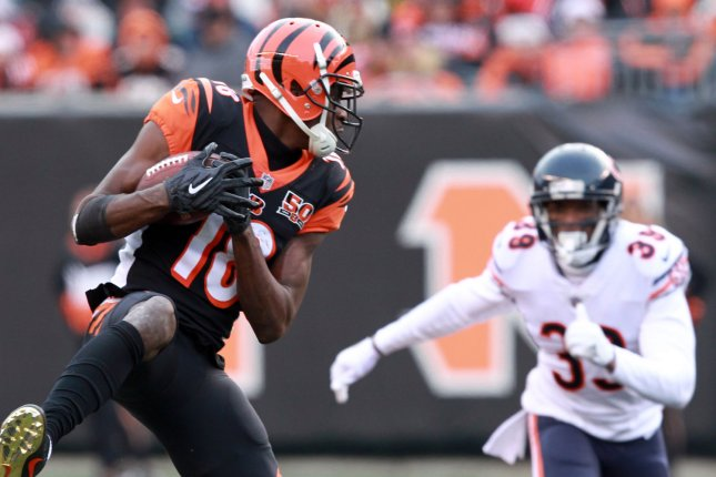 Cincinnati Bengals wide receiver A.J. Green hauls in a pass during a game against the Chicago Bears. Photo by John Sommers II /UPI