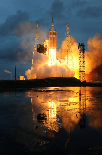 A United Launch Alliance Delta IV Heavy rocket launches NASA's Orion Spacecraft at the Cape Canaveral Air Force Station, Florida, on December 5, 2014. File Photo by Joe Marino-Bill Cantrell/UPI