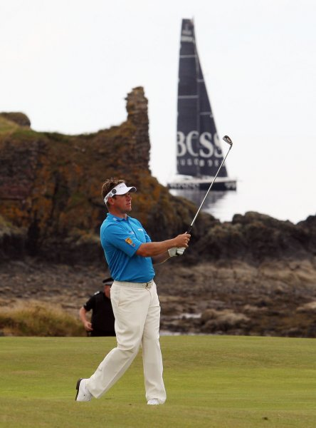 Lee Westwood hits a shot at the 138th British Open Championship in Turnberry, Scotland July 16, 2009. (UPI Photo/Hugo Philpott)