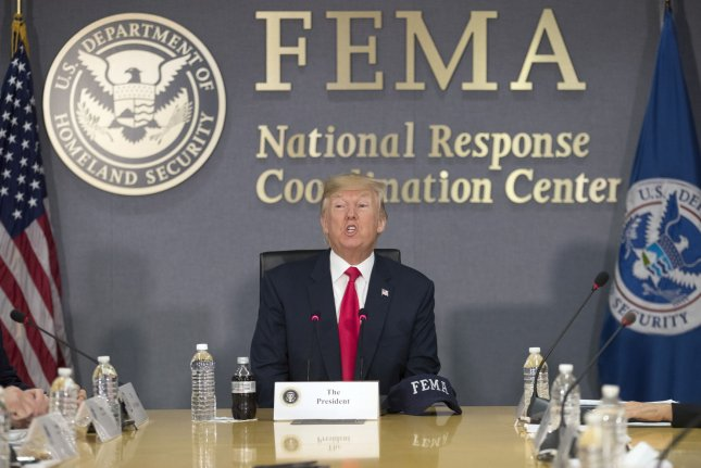 President Donald Trump visits the command center of the Federal Emergency Management Agency headquarters, in Washington, D.C., on August 4. File Photo by Michael Reynolds/UPI