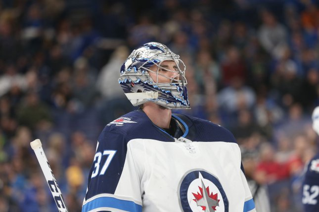 Winnipeg Jets goaltender Connor Hellebuyck. Photo by Bill Greenblatt/UPI