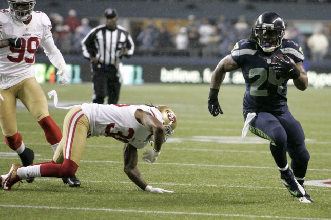 Seattle Seahawks running back Marshawn Lynch (24) will return to the team on a one-year contract. File Photo by Jim Bryant