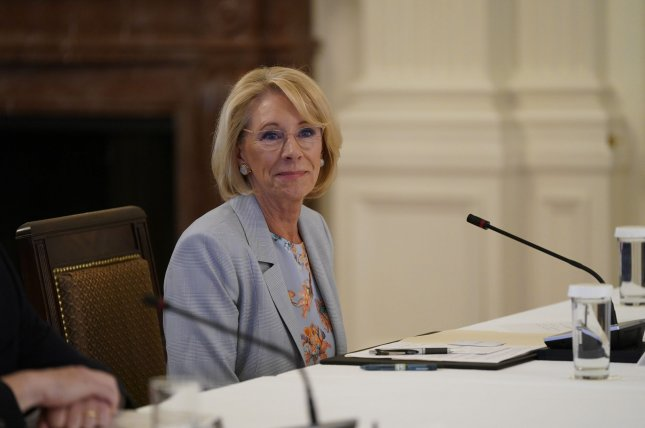 Secretary of Education Betsy DeVos unveiled the new Title IX guidelines in May. File Photo by Chris Kleponis/UPI