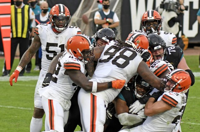 The Cleveland Browns have now closed their team facility six times since Nov. 13 -- including on Wednesday morning -- to conduct COVID-19 contract tracing. File Photo by Joe Marino/UPI