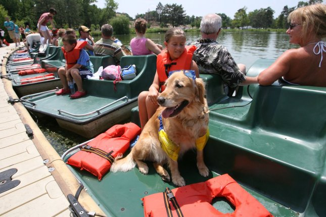 Maggie the dog waits for the start of the Paddle with your pooch race wearing her goggles and floaties in Forest Park in St. Louis on July 15, 2007. (UPI Photo/Bill Greenblatt)