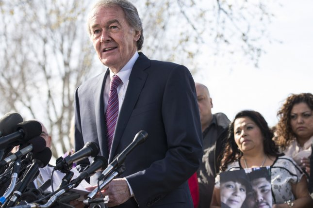Sen. Edward Markey, D-Mass., seen here speaking in 2014, is among 11 federal lawmakers who hope to repeal a provision in the recently passed U.S. budget that allows the government to collect its debts using robocalls. File photo by Kevin Dietsch/UPI