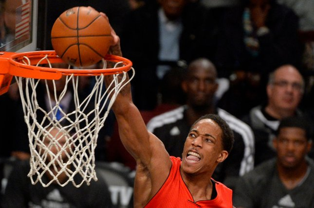 DeMar DeRozan scored 42 points -- one shy of his career best -- as the Toronto Raptors fought back from 15 points down in the fourth quarter and won 122-120 in overtime over the Chicago Bulls. File Photo by Rich Kane/UPI
