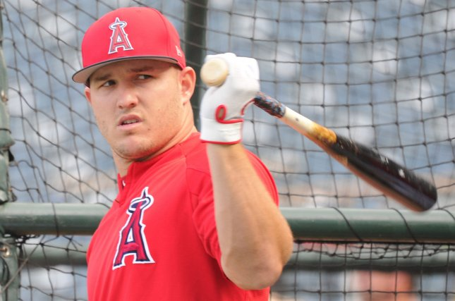 Los Angeles Angels outfielder Mike Trout takes batting practice before the game against the Oakland Athletics on Friday at Angel Stadium in Anaheim, Calif. Photo by Lori Shepler/UPI