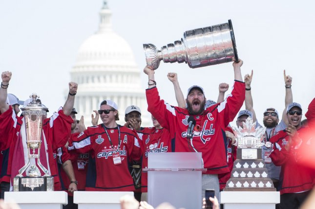 Washington Capitals team captain and forward Alex Ovechkin celebrates during the Capitals' victory parade on June 12, 2018 in Washington. Photo by Kevin Dietsch/UPI