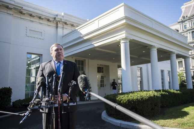 Secretary of State Michael Pompeo speaks to reporters Thursday following a meeting at the White House with President Trump about his visit to Saudi Arabia and Turkey this week. Photo by Kevin Dietsch/UPI