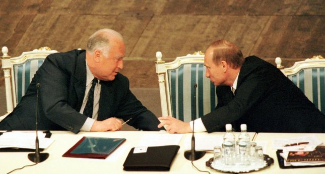 this May 2000 photo shows then-Russian President Vladimir Putin(R) speaking with Viktor Chernomyrdin, who died early Wednesday. He was 72 .UPI MM/Maxim Marmur