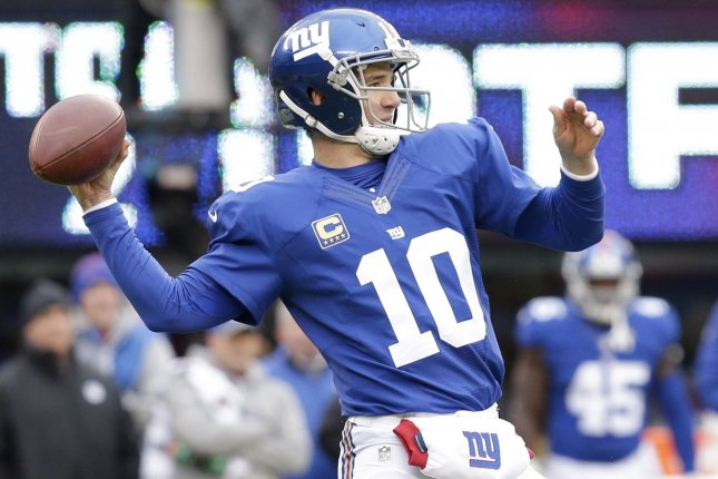 New York Giants Eli Manning throws a pass in the first half agains the Chicago Bears in week 11 of the NFL at MetLife Stadium in East Rutherford, New Jersey on November 20, 2016. Photo by John Angelillo/UPI