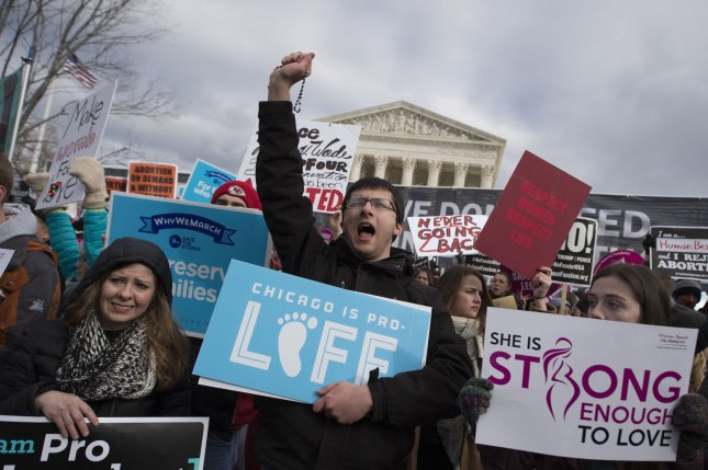 Anti-abortion activists demonstrate during the March for Life outside the U.S. Supreme Court in Washington, D.C., on Friday. Photo by Molly Riley/UPI