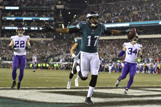 Philadelphia Eagles Wide Receiver Alshon Jeffery 17 Celebrates After Catching A Touchdown P During The Second Quarter Of Nfc Championship