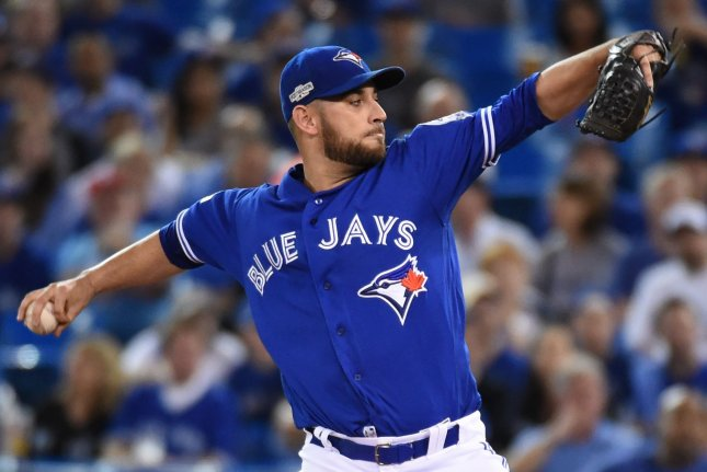 Former Toronto Blue Jays starting pitcher Marco Estrada agreed to a deal with the Oakland A's on Friday, the team announced. File photo by Darren Calabrese/UPI