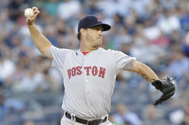 Boston Red Sox starting pitcher Steven Wright tested positive for growth-hormone-releasing peptide 2 (GHRP-2). File Photo by John Angelillo/UPI