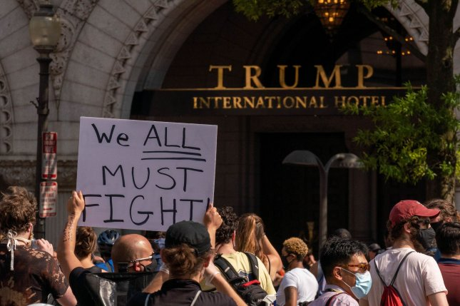 The Supreme Court on Monday tossed out two cases challenging whether foreign governments exerted financial power over former President Donald Trump when they paid for rooms in his luxury Washington, D.C., hotel. File Photo by Ken Cedeno/UPI